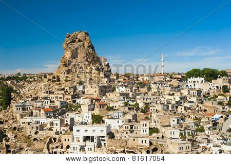 Monumental ancient Ortahisar castle in Cappadocia, Turkey