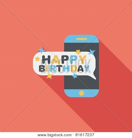 Cell Phone Birthday Message Flat Icon With Long Shadow,eps10