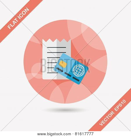 Shopping Credit Card Bill Flat Icon With Long Shadow,eps10