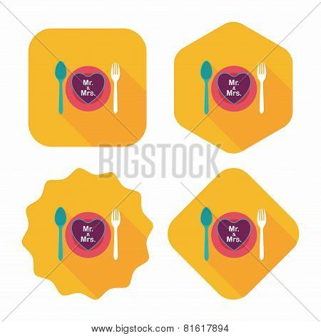 Wedding Dishware Flat Icon With Long Shadow,eps10