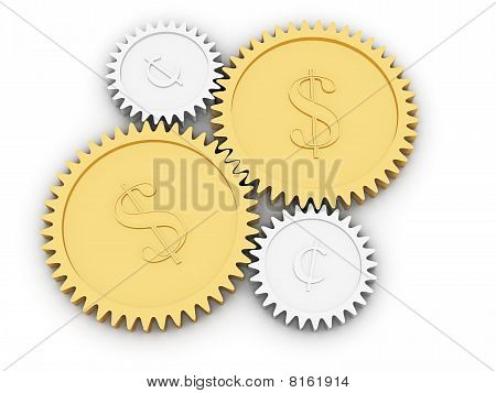 Golden Dollar And Cent Gears On White