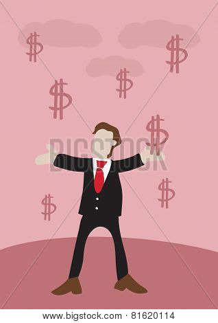 Man In Suit Receives Money Falling From Sky With Open Arms