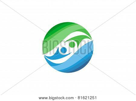 circle element geometry logo, people health balance elements sphere globe design vector