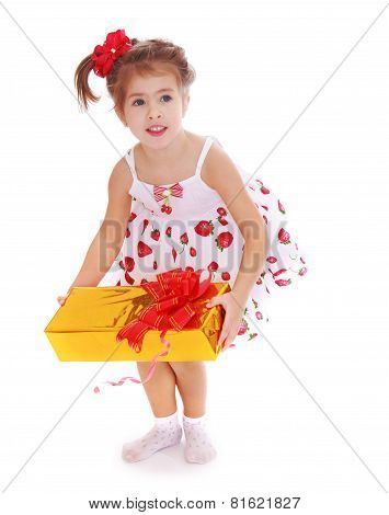 Beautiful little girl with a gift in their hands.