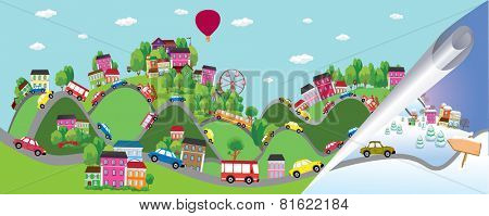 Vector background with cars on the road. Summer and winter