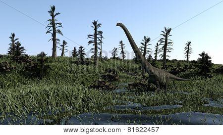 mamenchisaurus on grass terrain