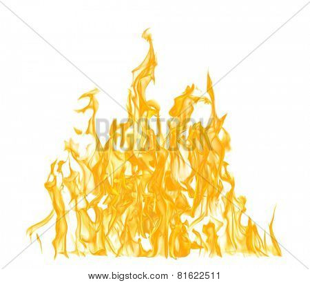 high yellow flame isolated on white background