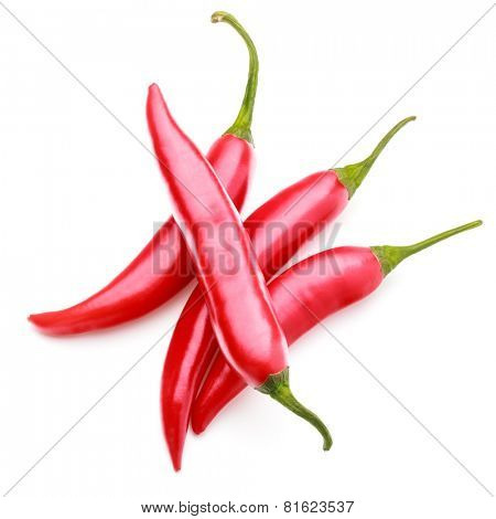 red chili or chilli cayenne pepper isolated on white  background cutout