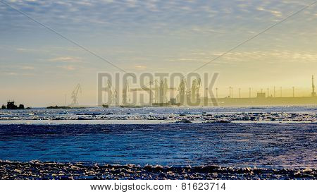 Modern Ukraine, Mariupol City Winter View Of Cargo Port On The Azov Sea Near Metallurgical Works Wit