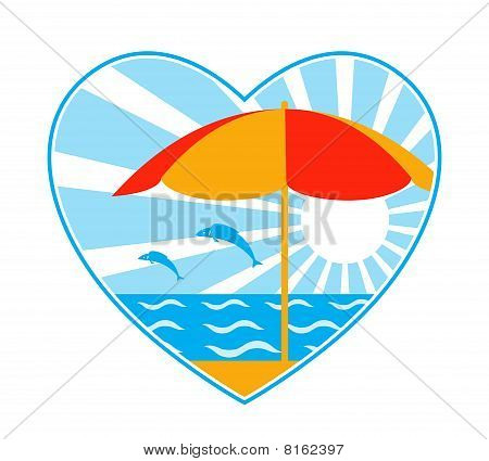 Beach Umbrella, Sea, Fishes And Sun In Heart