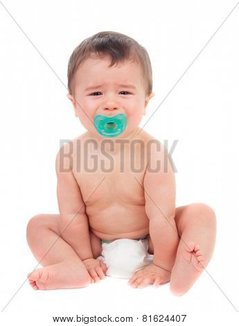 Cute baby crying with pacifier isolated on a white background
