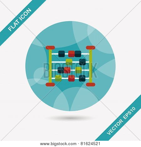 Abacus Calculation Flat Icon With Long Shadow
