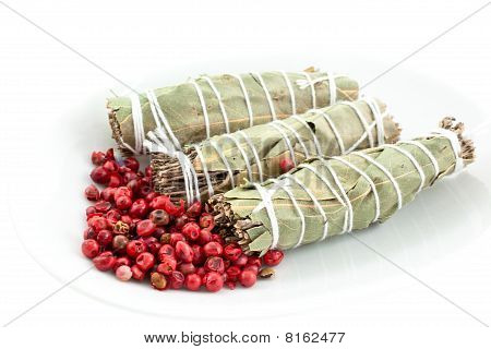 Three Dry Bouquets Garni And Pink Pepper