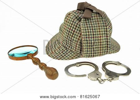 Detective Hat, Retro Magnifier And Real Handcuffs