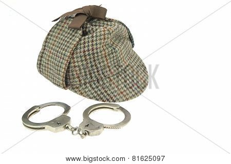 Deerstalker Hat And Real Steel Handcuffs