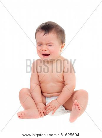 Cute baby in diaper crying isolated on a white background
