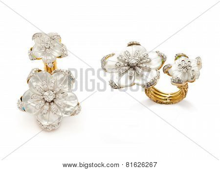 Close up of gold and diamond rings