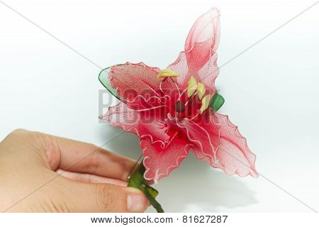 Plastic flower isolated