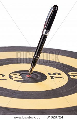 Fountain Pen In The Target Center Of Dartboard