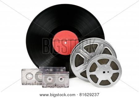 Audio Cassettes, Records And Film Strip Isolated On White Background
