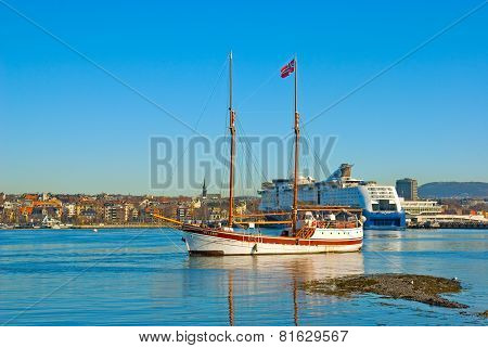 Oslo. Norway. Sailing ship against the coast of Oslo