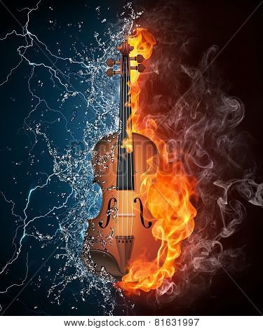 Violin On Fire And Water