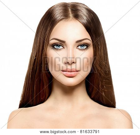 Beauty Woman face. Model girl with Long Healthy and Shiny Smooth Brown Hair. Brunette lady Portrait over white background. Perfect skin, skincare, Hair Extensions