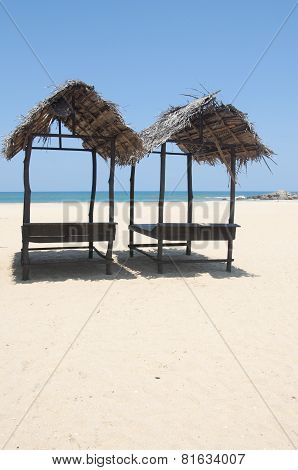 Traditional Sunbeds at Whiskey Point, Sri Lanka