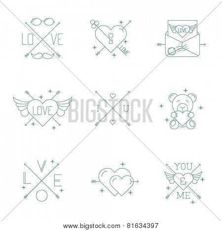 Hipster minimalist vector Valentine day design elements set.