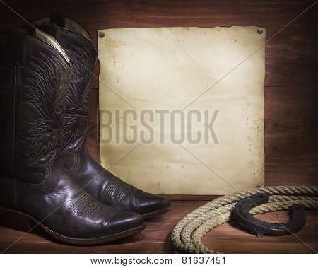 Cowboy Background With Western Shoes And Lasso And Paper