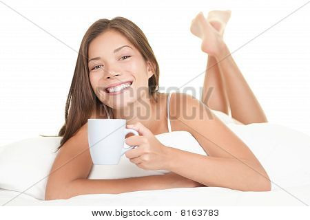 Bed Woman Drinking Tea