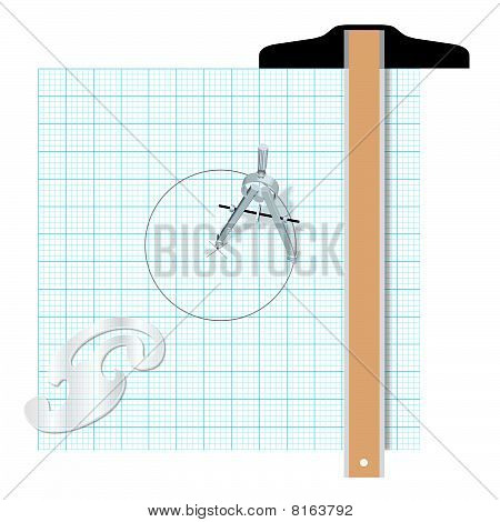 Drafting Tools Protractor T Square Compass Engineering
