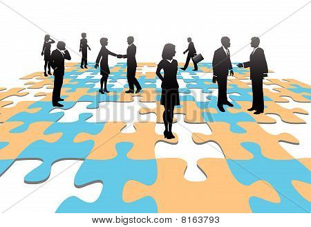 Jigsaw Puzzle Pieces Business People Team Solution