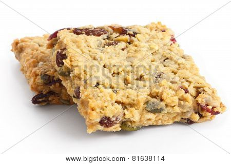 Homemade luxury fruit muesli bar.