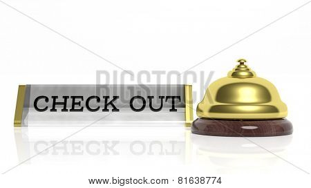Hotel reception bell and Check out card isolated on white