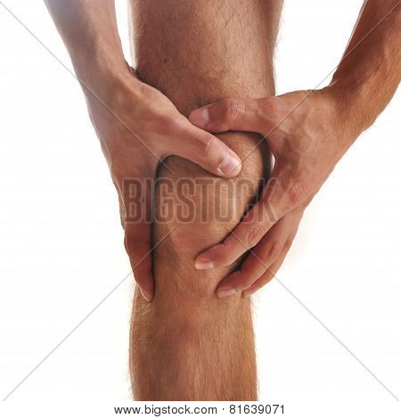 Acute pain in a knee at the man