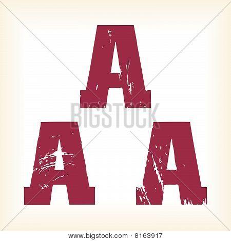 Grunge vector A letter - vector type alphabet - slab serif font