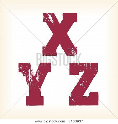 Grunge vector X, Y & Z letters