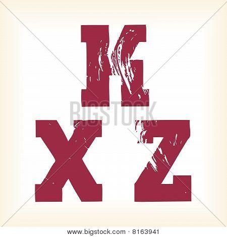 Grunge vector K, X & Z letters