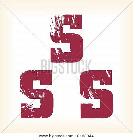 Grunge vector S letter