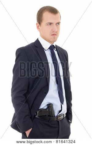 Policeman Or Bodyguard With Gun In Pants Isolated On White