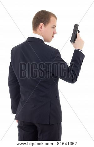 Back View Of Man In Business Suit With Gun Isolated On White