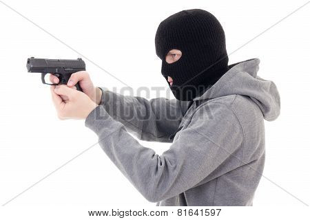 Man In Mask Shooting With Gun Isolated On White