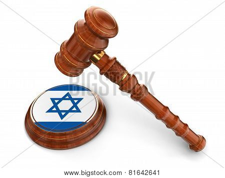 Wooden Mallet and Israeli flag (clipping path included)