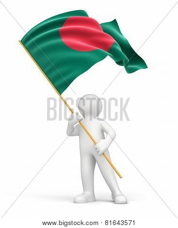 Man and Bangladesh flag (clipping path included)