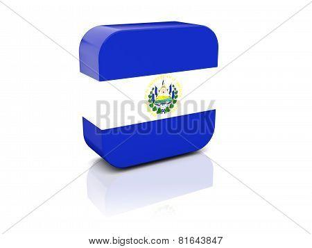 Square Icon With Flag Of El Salvador