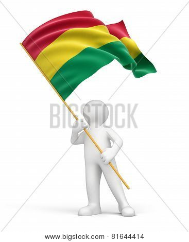 Man and Bolivian flag (clipping path included)