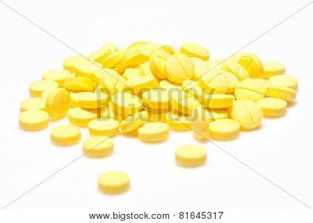 Medical pills piled up a bunch
