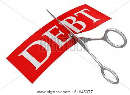 Scissors and debt (clipping path included)