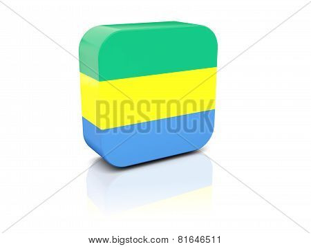 Square Icon With Flag Of Gabon